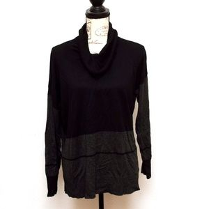 Cable & Gauge Sweater Womens Sz XL Black Cowl Neck